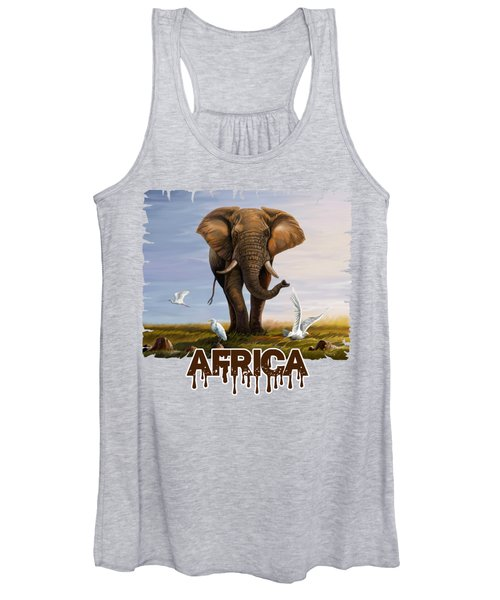 Elephant And Cattle Egrets Women's Tank Top
