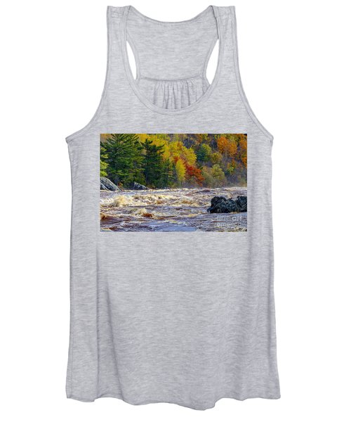 Autumn Colors And Rushing Rapids   Women's Tank Top