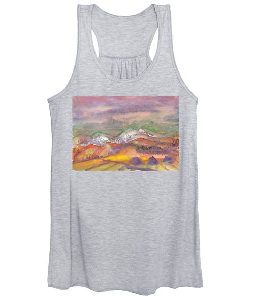 Women's Tank Top featuring the painting Autumn Landscape In Cloudy Weather by Irina Dobrotsvet
