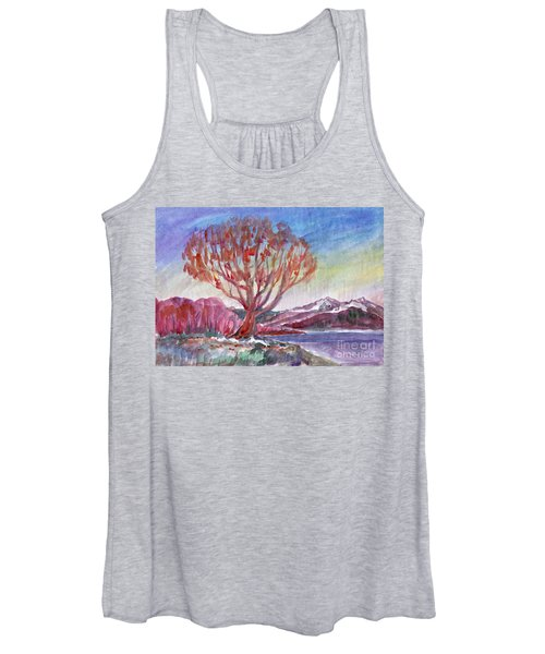 Women's Tank Top featuring the painting Autumn Tree By The River by Irina Dobrotsvet