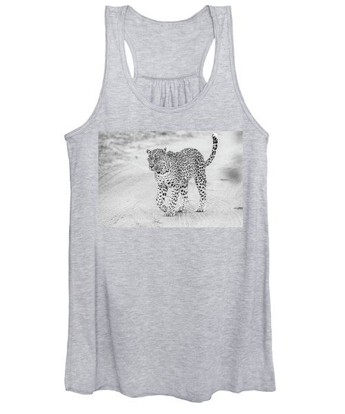 Black And White Leopard Walking On A Road Women's Tank Top
