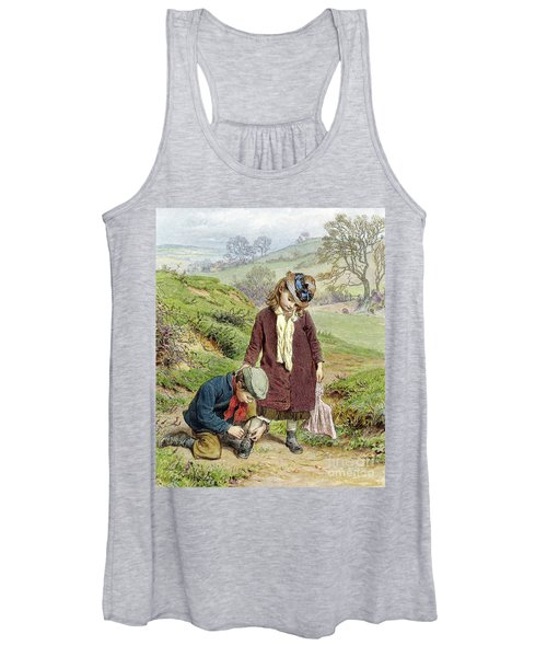 Brother Tying His Sisters Shoe Women's Tank Top