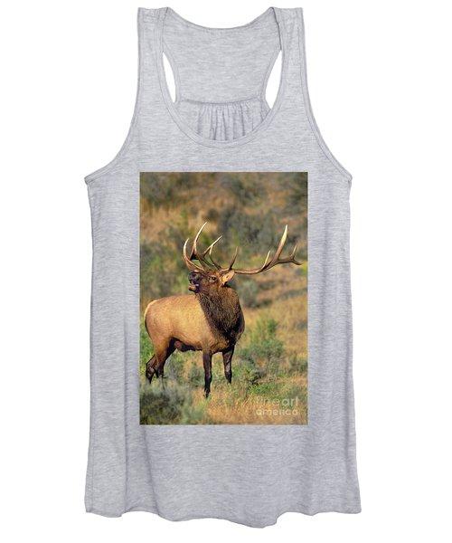 Bull Elk In Rut Bugling Yellowstone Wyoming Wildlife Women's Tank Top