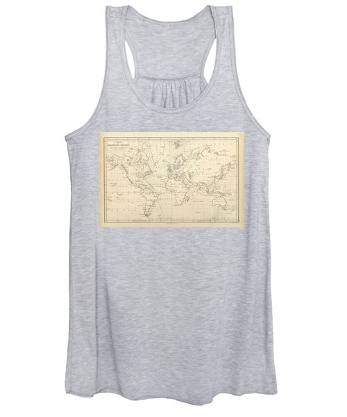 Chart Of Magnetic Curves Of Equal Variation - Antique World Map - Cartography Women's Tank Top