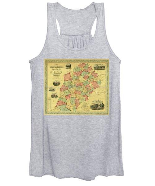Chester County Pennsylvania Map 1856 Women's Tank Top