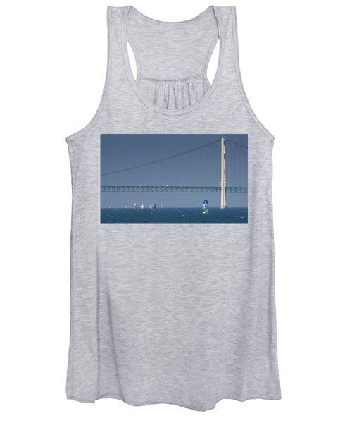 Chicago To Mackinac Yacht Race Sailboats With Mackinac Bridge Women's Tank Top