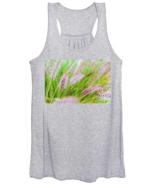 Colorful Flowers In Purple Spikes, Purple Fountain Grass, Close- Women's Tank Top