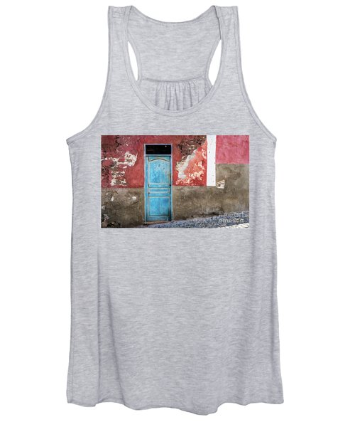Colorful Wall With Blue Door Women's Tank Top