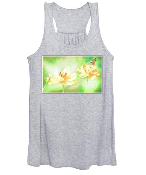 Cosmos Flowers, Bud, Butterfly, Digital Painting Women's Tank Top