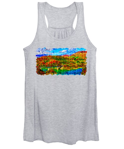Countryside Watercolor Drawing  - The Bridge Is The Lake Women's Tank Top