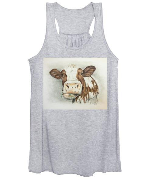 Cow Eating Breakfast Women's Tank Top