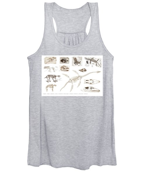 Different Types Of Ancient Fossils Illustrated By Charles Dessalines D' Orbigny  1806-1876 3 Women's Tank Top