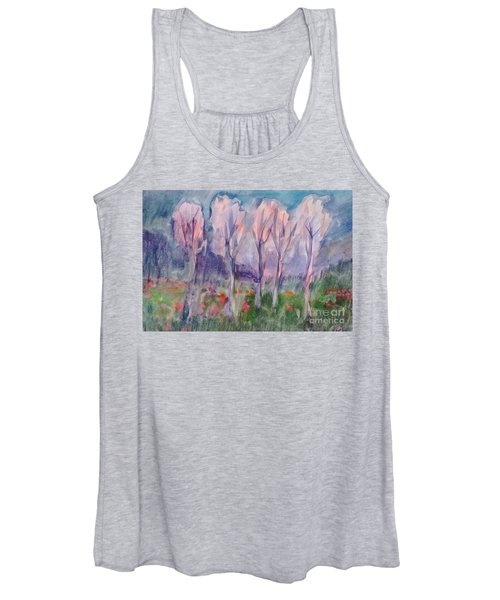 Women's Tank Top featuring the painting Early Morning In The Forest by Irina Dobrotsvet