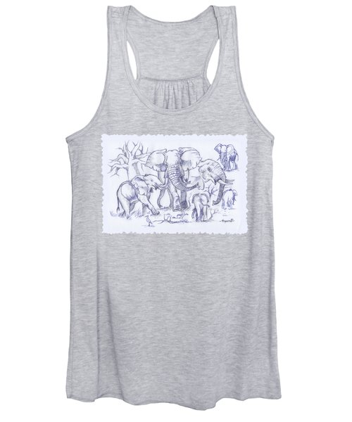 Elephant And Cattle Egrets Sketches Women's Tank Top