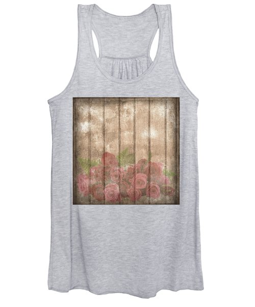Faded Red Country Roses On Wood Women's Tank Top