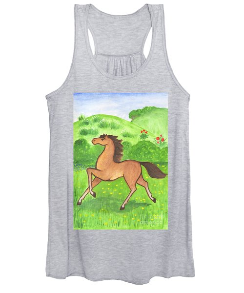 Women's Tank Top featuring the painting Foal In The Meadow by Irina Dobrotsvet
