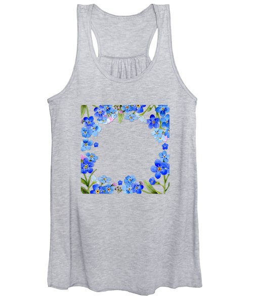 Frame Wreath Of Blue Forget Me Not Flowers On Cream Marble Women's Tank Top