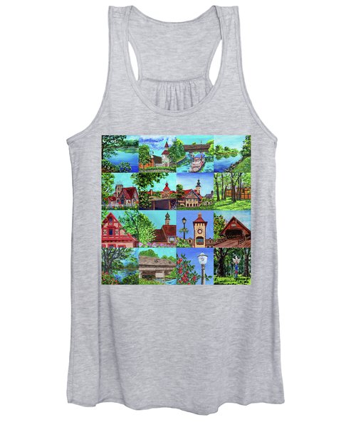 Frankenmuth Downtown Michigan Painting Collage I Women's Tank Top
