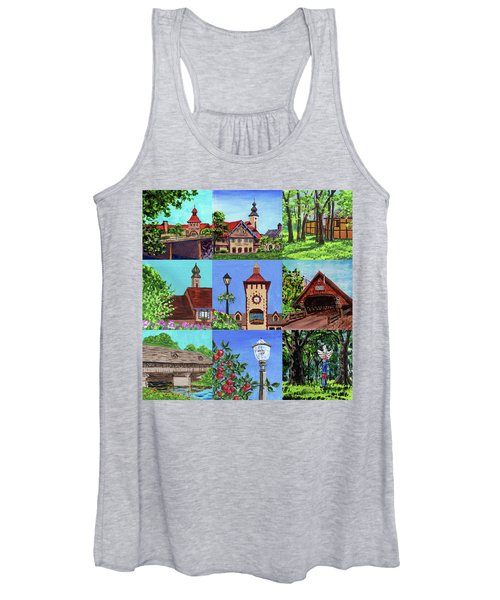 Frankenmuth Downtown Michigan Painting Collage Iv Women's Tank Top