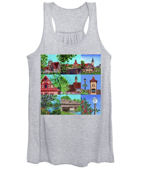 Frankenmuth Downtown Michigan Painting Collage V Women's Tank Top