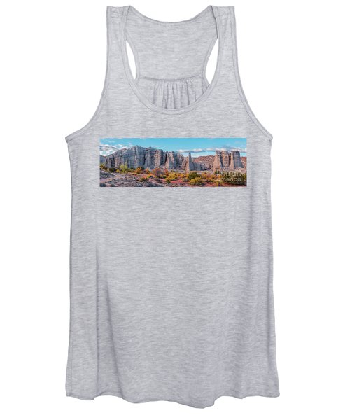Golden Hour Fall Panorama Of Plaza Blanca - Abiquiu Rio Arriba County New Mexico Women's Tank Top
