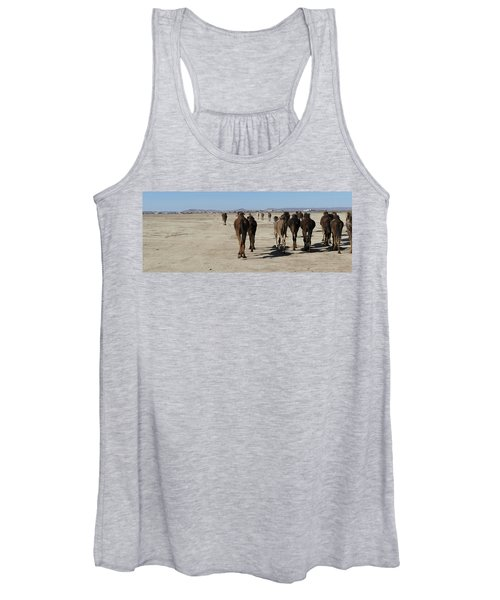 Herd Of Camels Crossing The Highway Near  Rissani Women's Tank Top