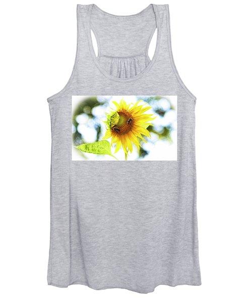 Honey Bees On Sunflower Women's Tank Top