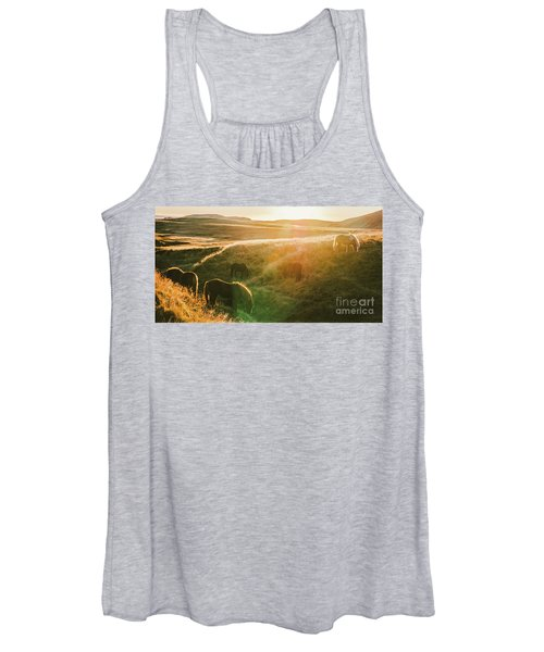 Icelandic Landscapes, Sunset In A Meadow With Horses Grazing  Ba Women's Tank Top