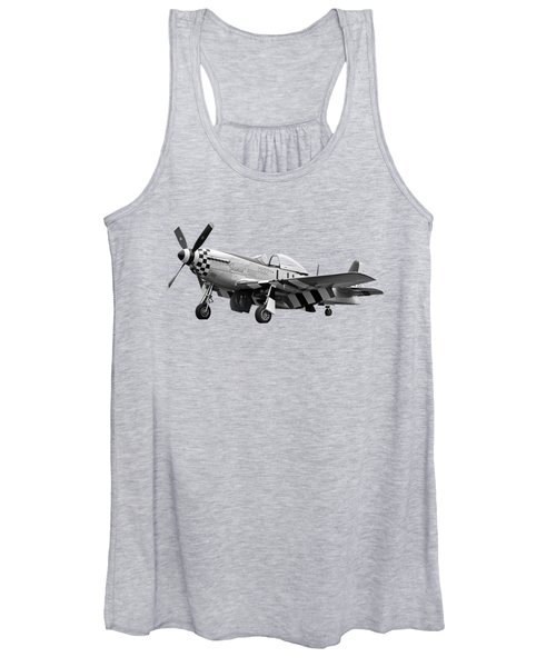 Janie P-51 In Black And White Women's Tank Top