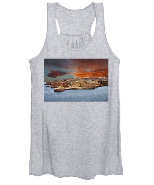 Looking Across Harbor From Fort St Elmo To  Fort Rikasoli Women's Tank Top