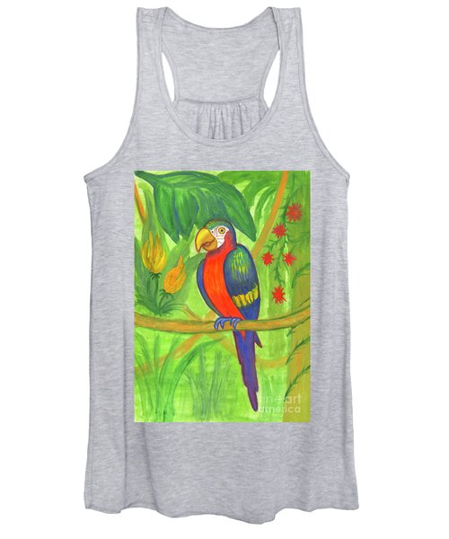 Women's Tank Top featuring the painting Macaw Parrot In The Wild by Irina Dobrotsvet