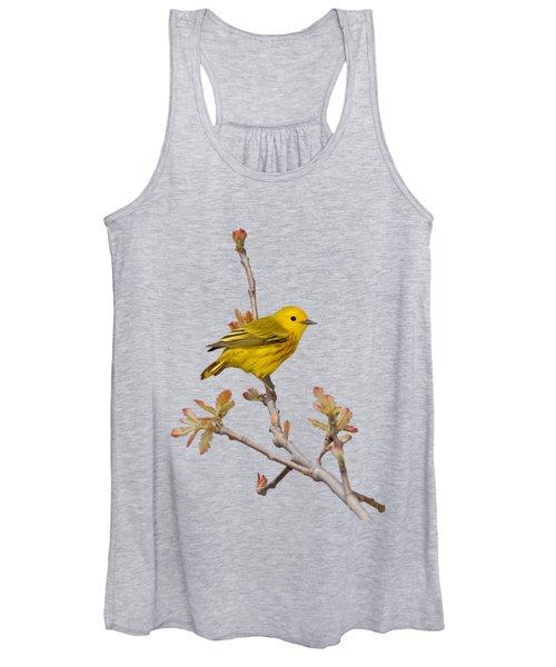 Male Yellow Warbler In Spring Women's Tank Top
