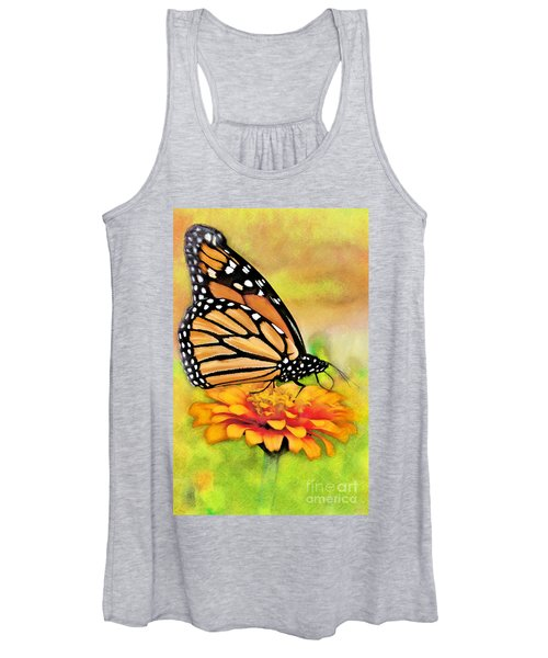 Monarch Butterfly On Flower Women's Tank Top