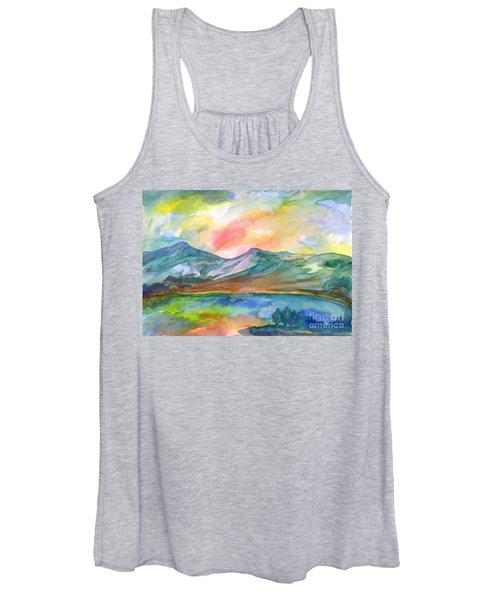 Women's Tank Top featuring the painting Mountain Lake by Irina Dobrotsvet
