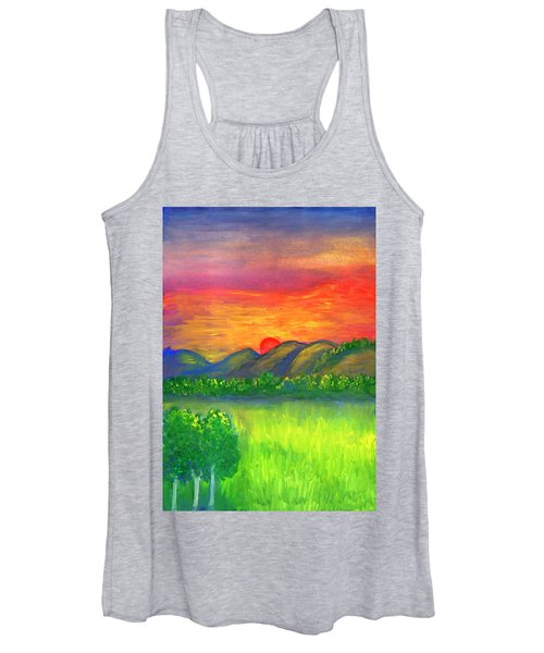 Women's Tank Top featuring the painting Mystical Red Sunset by Irina Dobrotsvet