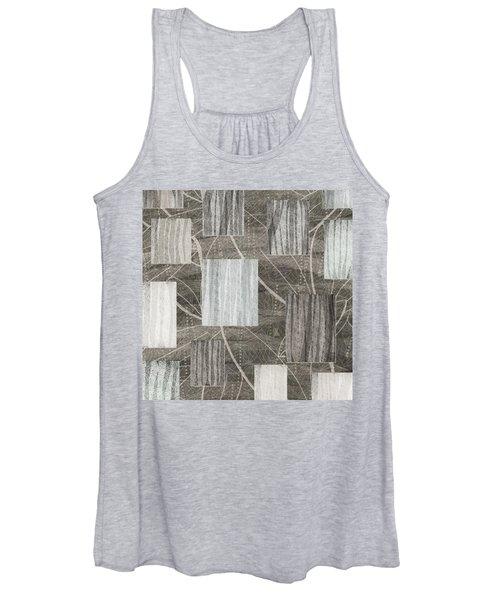 Neutral Leaf Print Squares Cream Women's Tank Top