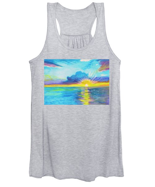 Women's Tank Top featuring the painting Ocean In The Morning by Irina Dobrotsvet