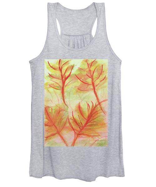 Orange Fanciful Leaves Women's Tank Top