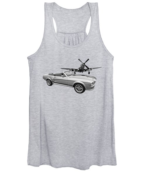 P51 Meets Eleanor In Black And White Women's Tank Top