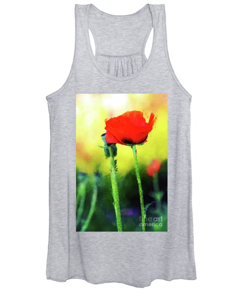 Painted Poppy Abstract Women's Tank Top