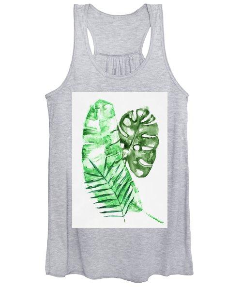 Palm Leaves-banana, Coconut, Monstera Women's Tank Top