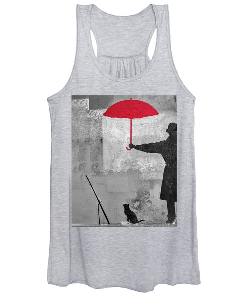 Paris Graffiti Man With Red Umbrella Women's Tank Top