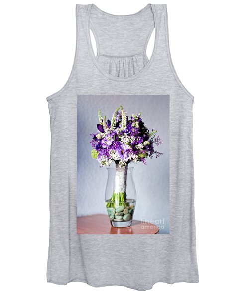 Perfect Bridal Bouquet For Colorful Wedding Day With Natural Flowers. Women's Tank Top