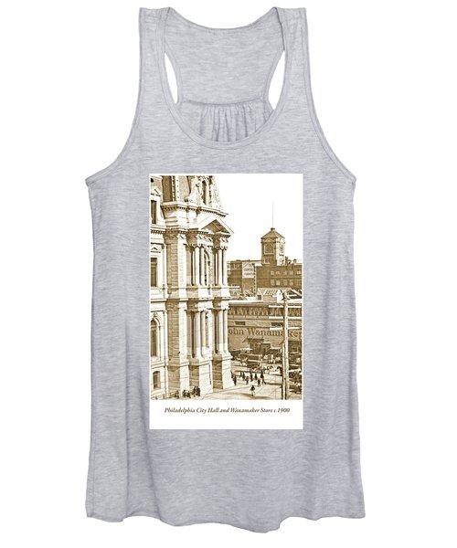 Philadelphia City Hall And Wanamaker Store C 1900 Vintage Photog Women's Tank Top