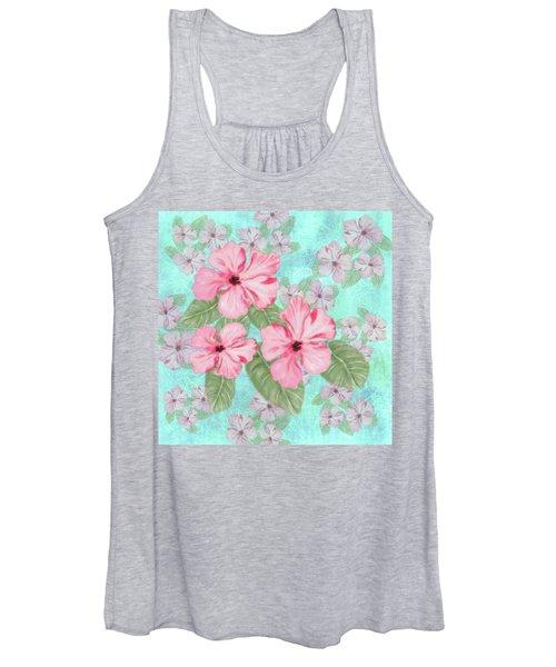 Pink Hibiscus Print On Aqua Women's Tank Top