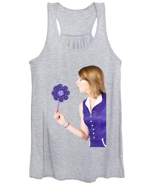 Pretty Pin Up Girl Playing With Purple Pinwheel Women's Tank Top