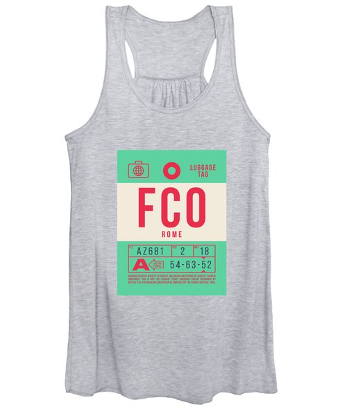 Retro Airline Luggage Tag 2.0 - Fco Rome Italy Women's Tank Top
