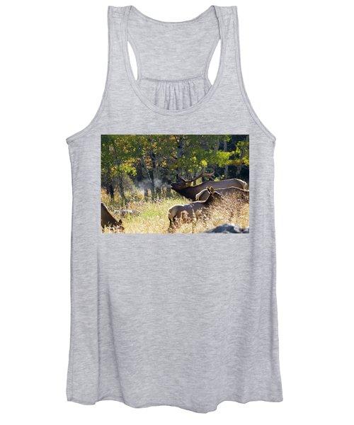 Rocky Mountain Bull Elk Bugeling Women's Tank Top