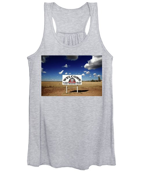 Route 66 - Midpoint Sign 2010 Bw Women's Tank Top