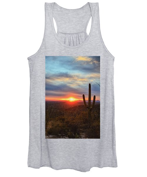 Saguaro Cactus And Tucson At Sunset Women's Tank Top